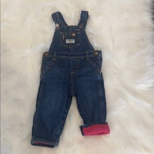 2/$25 Oshkosh Fleece Lined Overalls. 12M